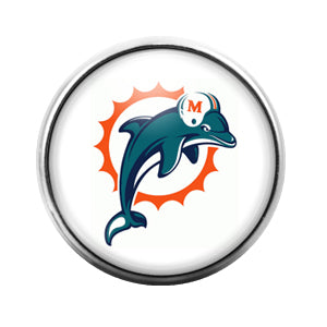 Miami Dolphins - 18MM Glass Dome Candy Snap Charm GD0409
