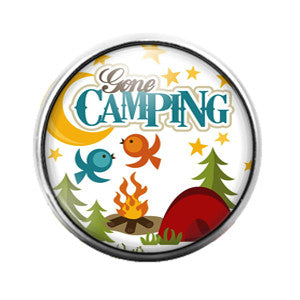 Gone Camping - 18MM Glass Dome Candy Snap Charm GD0379