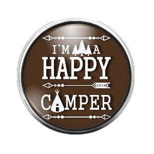 Happy Camper Brown - 18MM Glass Dome Candy Snap Charm GD0386