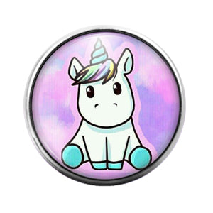 Unicorn- 18MM Glass Dome Candy Snap Charm GD0994