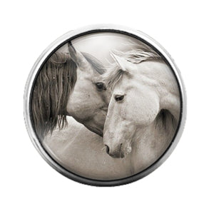 Horses - 18MM Glass Dome Candy Snap Charm GD0741