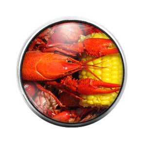 Crawfish Louisiana- 18MM Glass Dome Candy Snap Charm GD1214