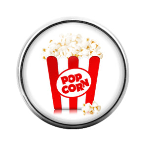 Popcorn- 18MM Glass Dome Candy Snap Charm GD1113