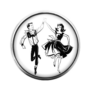 Square Dancing - 18MM Glass Dome Candy Snap Charm GD1415