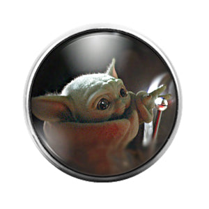 Baby Yoda Star Wars Mandalorian- 18MM Glass Dome Candy Snap Charm GD1556