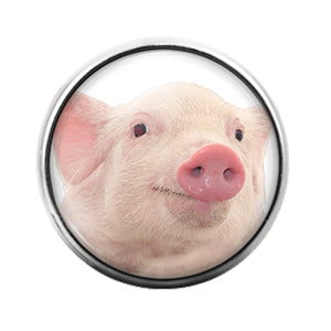 Pig- 18MM Glass Dome Candy Snap Charm GD1075