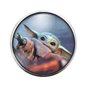 Baby Yoda Star Wars Mandalorian- 18MM Glass Dome Candy Snap Charm GD1557