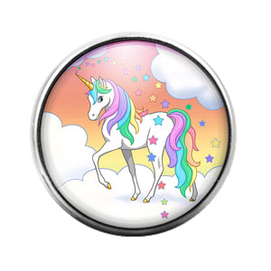 Unicorn- 18MM Glass Dome Candy Snap Charm GD0995