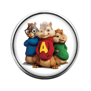 Chipmunks - 18MM Glass Dome Candy Snap Charm GD0753