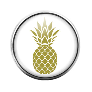 Pineapple Fruit - 18MM Glass Dome Candy Snap Charm GD1299