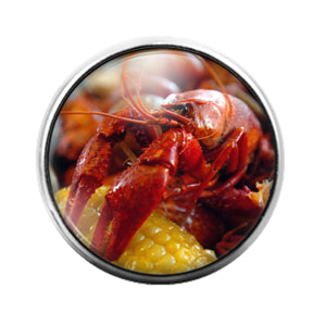 Crawfish Louisiana- 18MM Glass Dome Candy Snap Charm GD1216