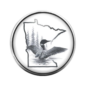 Loon Bird- 18MM Glass Dome Candy Snap Charm GD0976