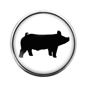 Farm Animals Pig- 18MM Glass Dome Candy Snap Charm GD1313