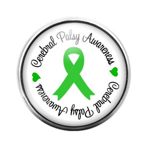 Awareness Ribbon Green- 18MM Glass Dome Candy Snap Charm GD0397