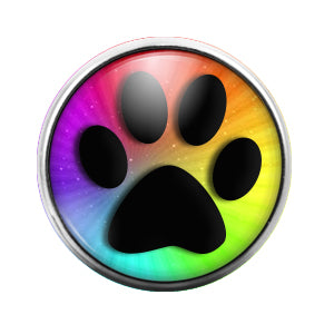 Paw Print Rainbow- 18MM Glass Dome Candy Snap Charm GD1349