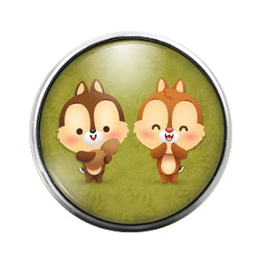 Chip and Dale- 18MM Glass Dome Candy Snap Charm GD0981