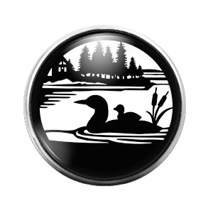 Loon Bird Duck- 18MM Glass Dome Candy Snap Charm GD0977