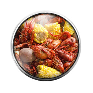 Crawfish Louisiana- 18MM Glass Dome Candy Snap Charm GD1217