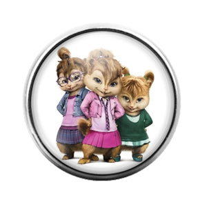 Chipmunks - 18MM Glass Dome Candy Snap Charm GD0754