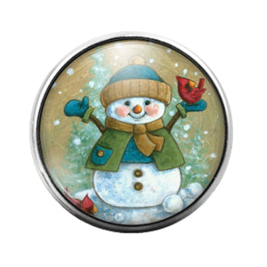 Christmas Snowman- 18MM Glass Dome Candy Snap Charm GD1040