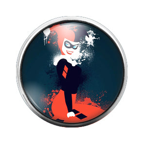 Harley Quinn - 18MM Glass Dome Candy Snap Charm GD1387