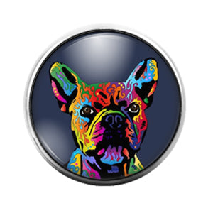 Frenchie Bulldog - 18MM Glass Dome Candy Snap Charm GD1237