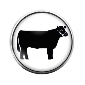 Farm Animals Cow- 18MM Glass Dome Candy Snap Charm GD1316