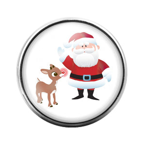 Christmas Santa- 18MM Glass Dome Candy Snap Charm GD0987