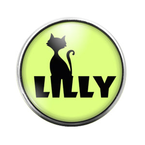 Lilly Cat- 18MM Glass Dome Candy Snap Charm GD1037