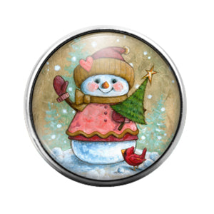 Christmas Snowman- 18MM Glass Dome Candy Snap Charm GD1041