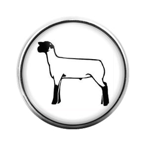 Farm Animals Sheep- 18MM Glass Dome Candy Snap Charm GD1315