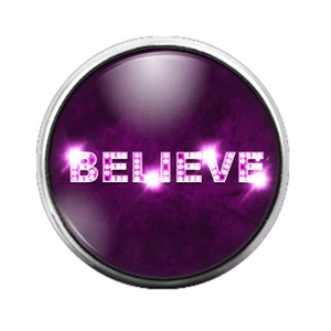 Believe Purple Pink - 18MM Glass Dome Candy Snap Charm GD0387