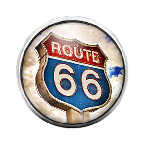 Route 66 - 18MM Glass Dome Candy Snap Charm GD0580