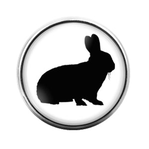 Farm Animals Rabbit- 18MM Glass Dome Candy Snap Charm GD1317
