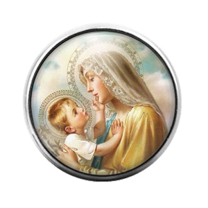 Mary and Jesus - 18MM Glass Dome Candy Snap Charm GD1272