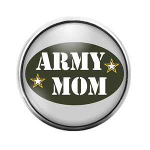 Army Mom - 18MM Glass Dome Candy Snap Charm GD0653