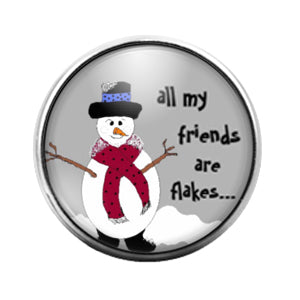 Christmas Snowman- 18MM Glass Dome Candy Snap Charm GD1042