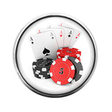 Gambling Poker Chips Cards - 18MM Glass Dome Candy Snap Charm GD0392