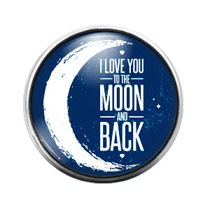 Love You Moon & Back- 18MM Glass Dome Candy Snap Charm GD1011