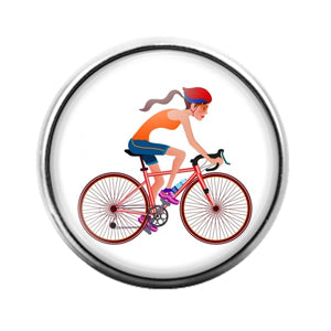 Girl on Bike Bicycling - 18MM Glass Dome Candy Snap Charm GD0899