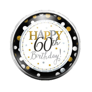 Happy 60th Birthday - 18MM Glass Dome Candy Snap Charm GD0583