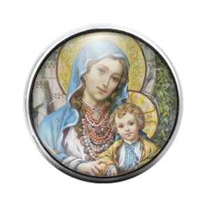 Mary and Jesus - 18MM Glass Dome Candy Snap Charm GD1273
