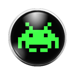 Space Invaders - 18MM Glass Dome Candy Snap Charm GD0656