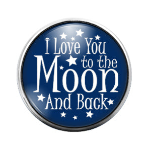 Love You Moon & Back- 18MM Glass Dome Candy Snap Charm GD1012