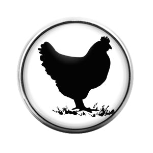 Farm Animals Chicken- 18MM Glass Dome Candy Snap Charm GD1318