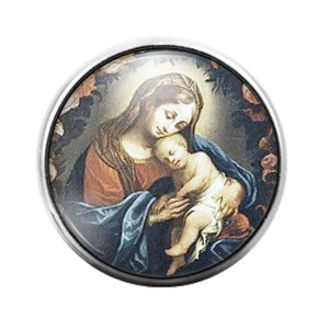 Mary and Jesus - 18MM Glass Dome Candy Snap Charm GD1274