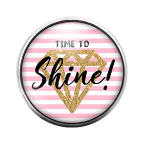Time to Shine Diamond - 18MM Glass Dome Candy Snap Charm GD1507