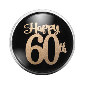 Happy 60th Birthday - 18MM Glass Dome Candy Snap Charm GD0584