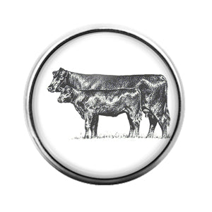 Farm Animals Cow- 18MM Glass Dome Candy Snap Charm GD1319