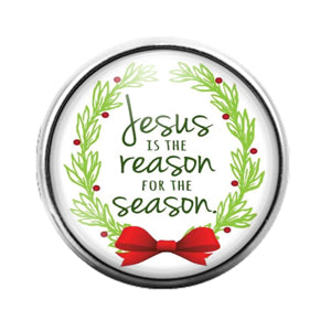 Jesus Reason for the Season Christmas- 18MM Glass Dome Candy Snap Charm GD1062